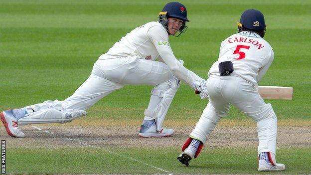 Lancashire's Keaton Jennings sweeps on his way to 64