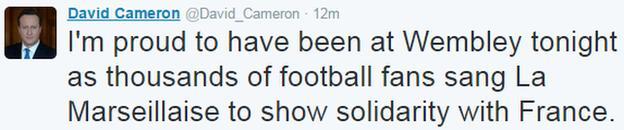 British Prime Minister David Cameron was at Wembley
