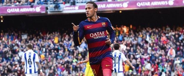 Neymar celebrates scoring for Barcelona against Real Sociedad