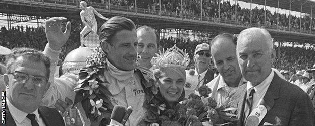 Graham Hill after winning the Indy 500