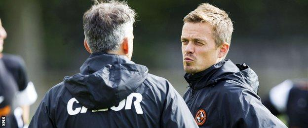 Simon Donnelly and Darren Jackson at Dundee United training