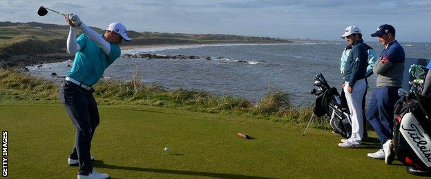 Grant Forrest plays a drive on the 16th at Kingsbarns as he prepares for the Alfred Dunhill Links Championship