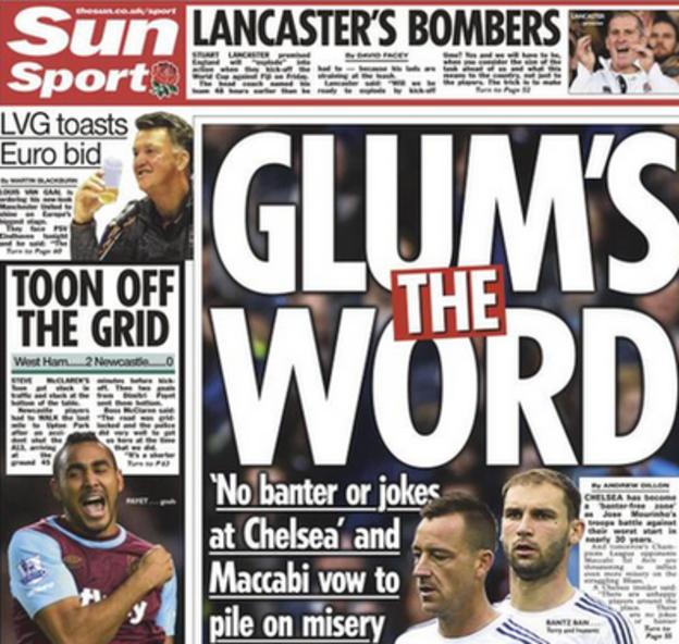 The back page of Tuesday's Sun focuses on 'no banter or jokes at Chelsea'