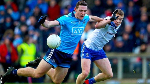 Monaghan's Colin Walshe challenges Dublin's Brian Fenton in the game in late January
