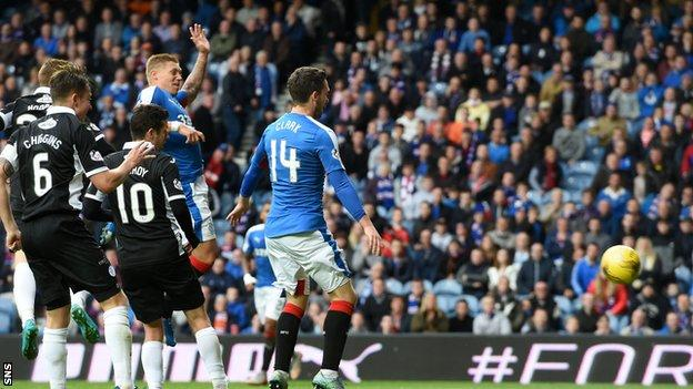 Martyn Waghorn scores for Rangers against Queen of the South