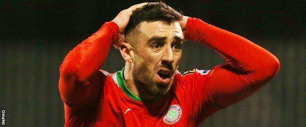 Joe Gormley shows his frustration after a missed Cliftonville chance