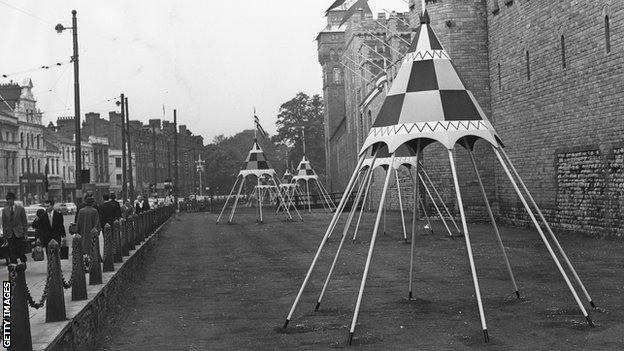 Coloured tents were erected outside Cardiff Castle for the 1958 Empire Games