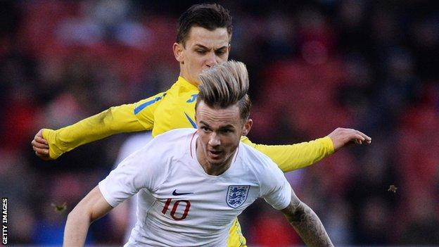 James Maddison (front) in action for England