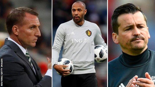Brendan Rodgers, Thierry Henry and Rui Faria