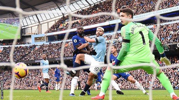 Aguero hooked his second goal home after Ross Barkley headed the bal back into his own penalty area