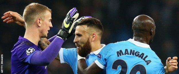 Man City goalkeeper Joe Hart with Nicolas Otamendi and Eliaquim Mangala