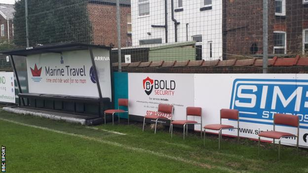 The away dugout at the Marine Travel Arena, home to non-league Marine FC who entertain Tottenham Hotspur in the FA Cup third round