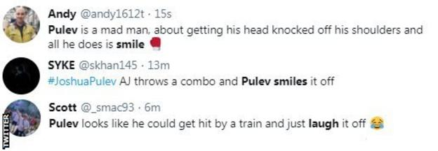 Boxing fans on Twitter point out that Kubrat Pulev just laughed off Anthony Joshua's onslaught in the third