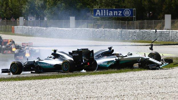 The two Mercedes drivers collided on the first lap of this year's Spanish GP