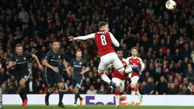 Aaron Ramsey scores against CSKA Moscow in the Europa League