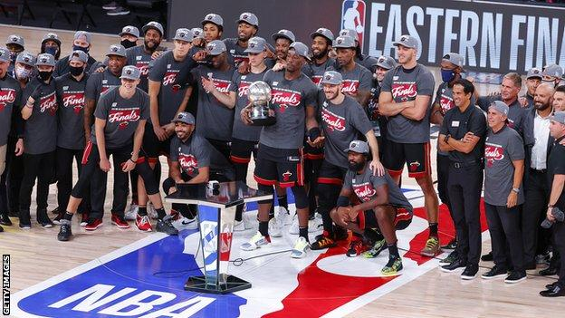 The Miami Heat celebrate winning the NBA Eastern Conference Finals