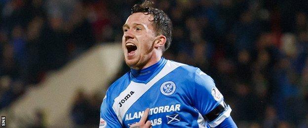 St Johnstone's Danny Swanson celebrates after scoring against Inverness in November