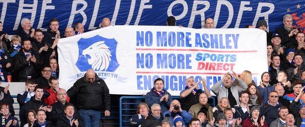 Rangers fans protest against club shareholder Mike Ashley