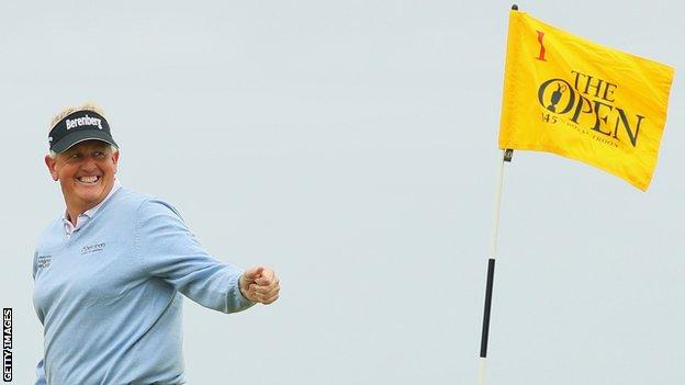 Colin Montgomerie smiles during his third round at Troon