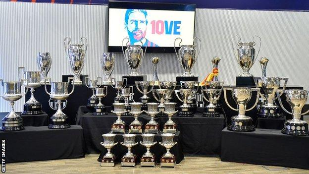 Replicas of the 34 trophies Lionel Messi has won with Barcelona