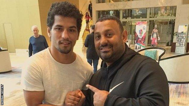 "Neeraj Goyat with ""Prince"" Naseem Hamed"