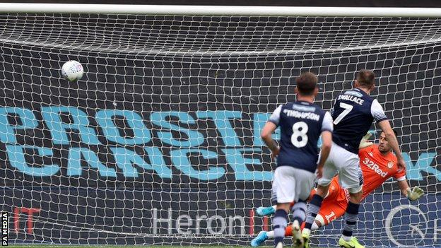 Jed Wallace scores Millwall's opening goal against Leeds
