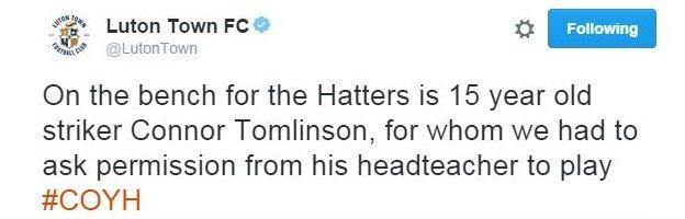 Luton Town tweet