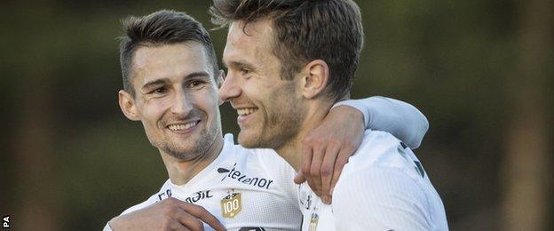 Rosenborg's Elbasan Rashani and Matthias Vilhjalmsson celebrate