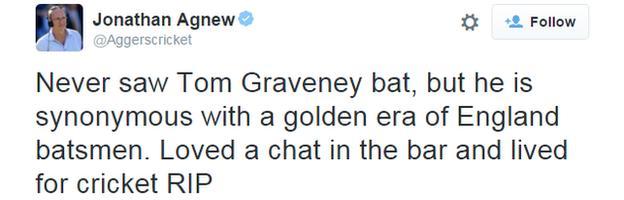 Tweet from Jonathan Agnew