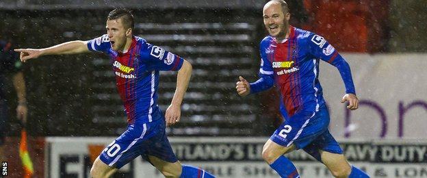 Liam Polworth and David Raven celebrate