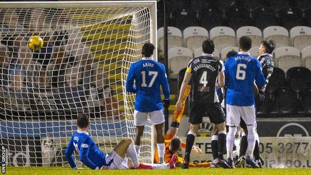 Conor McCarthy scores to make it 3-2 St Mirren during a Betfred Cup quarter final match between St Mirren and Rangers
