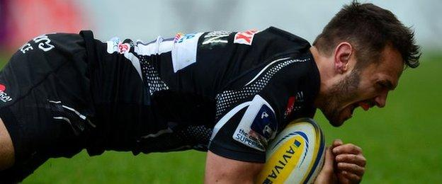 Phil Dollman went under the posts for Exeter's second try at Sandy Park