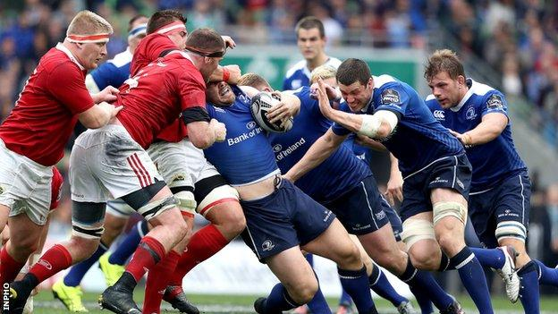 CJ Stander tackles Cian Healy during the first half of the Irish interprovincial derby at the Aviva Stadium