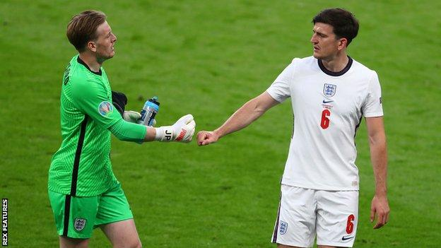 Jordan Pickford and Harry Maguire