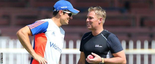Alastair Cook and Shane Warne