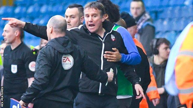 Bolton Wanderers boss Phil Parkinson was sent off during the defeat by Leeds United
