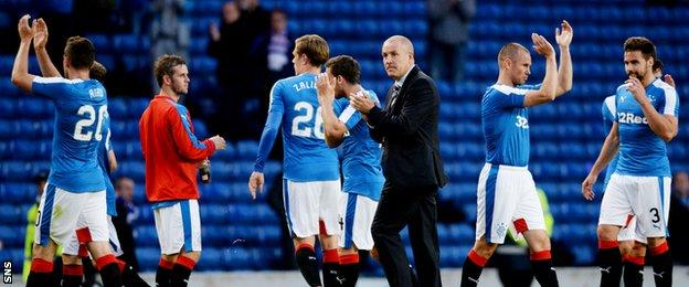 Rangers players with manager Mark Warburton