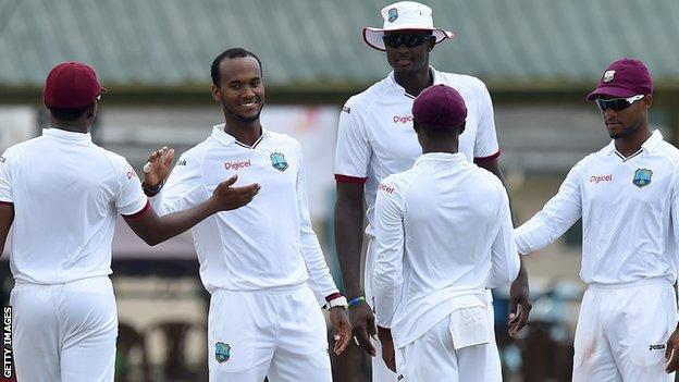Kraigg Brathwaite celebrates a wicket