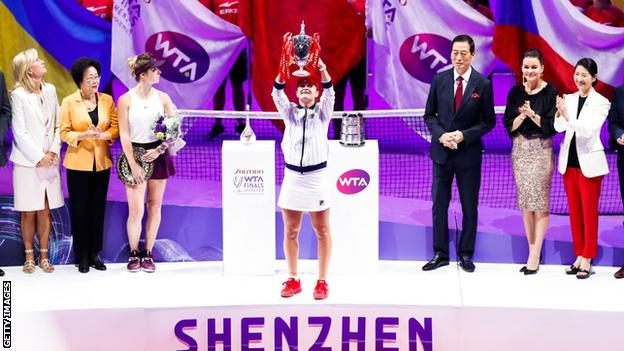 Métis Nation Saskatchewan - Ashleigh Barty celebrates winning the 2019 WTA Finals in Shenzhen