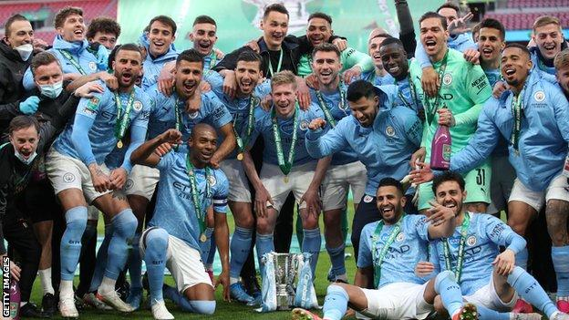 Manchester City with the EFL Cup