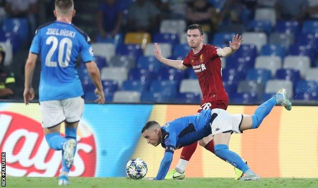 Andy Robertson was adjudged to have fouled Jose Callejon in the area and Dries Mertens put Napoli ahead from the spot