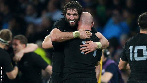 Sam Whitelock celebrates after New Zealand win the 2015 Rugby World Cup