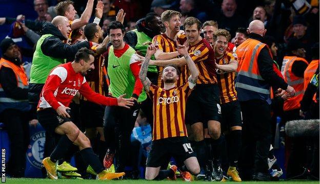 Bradford celebrate at Chelsea
