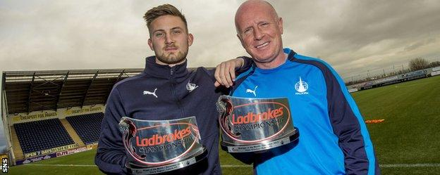 Falkirk's Danny Rogers and Peter Houston with their awards
