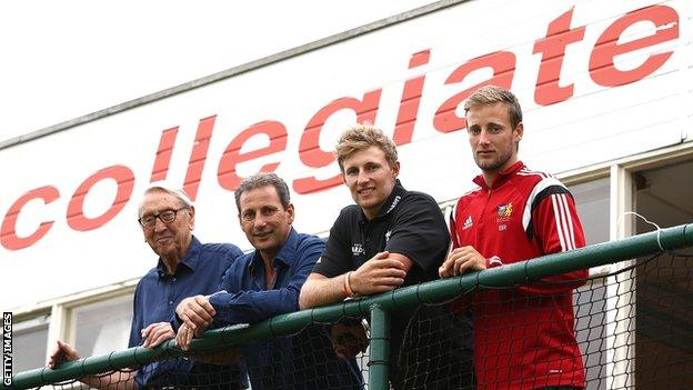 Joe Root with grandfather Don, father Matt and brother Billy at Sheffield Collegiate Cricket Club