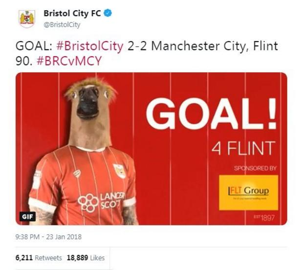 A gif of Flint wearing a horse's head mask after his last minute equaliser against Manchester City