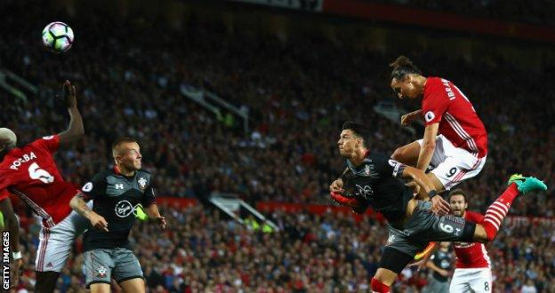 Zlatan Ibrahimovic scores against Southampton at Old Trafford in August