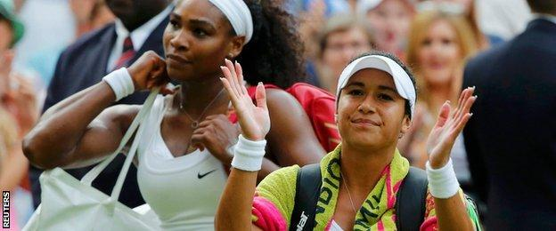 Heather Watson and Serena Williams depart