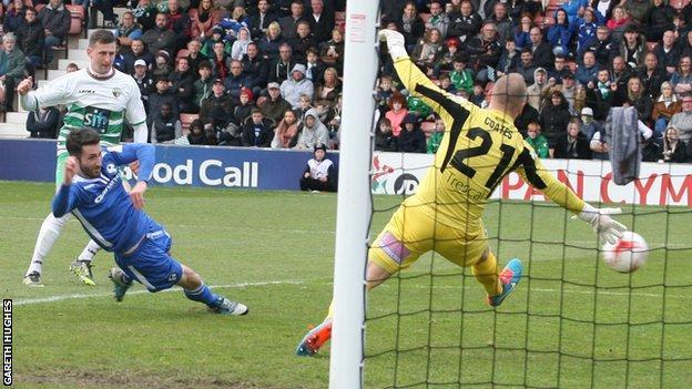 Scott Quigley scores New Saints' second goal against Airbus UK