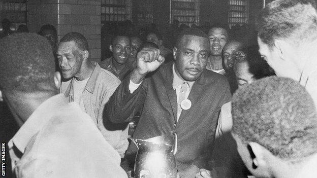 Sonny Liston pictured visiting Missouri State Penitentiary